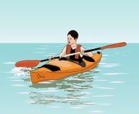 L'adolescent flotte sur le kayak Images libres de droits