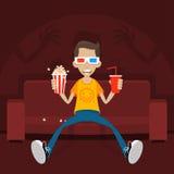 L'adolescent s'assied sur le sofa en verres 3D Photo libre de droits
