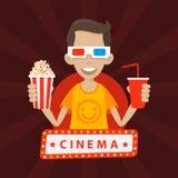 L'adolescent sourit en verres 3D Photographie stock libre de droits