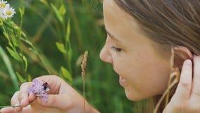 L'adolescente admire une mite sur une fleur Jour d'été chaud photos stock
