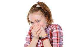 L'adolescente avec remettent la bouche images stock