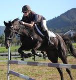 L'adolescente che salta il cavallo nero fotografia stock libera da diritti