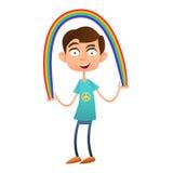 L'adolescente del ragazzo che tiene un arcobaleno, vector il piano illustrazione di stock