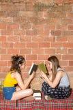 L'adolescente legge i libri rilassati immagine stock libera da diritti
