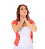 L'adolescente soffre dalla gola irritata Fotografie Stock Libere da Diritti