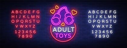L'adulte joue le logo dans le style au néon Concevez le calibre, les enseignes au néon de boutique de sexe, bannière légère sur l Photo libre de droits