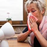 L'adulte supérieur féminin a la grippe photos libres de droits