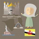 L'AEC Brunei de la Communauté de sciences économiques d'ASEAN Images libres de droits