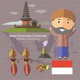 L'AEC Indonésie de la Communauté de sciences économiques d'ASEAN Photos libres de droits