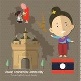 L'AEC Laos de la Communauté de sciences économiques d'ASEAN Photographie stock libre de droits