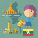 L'AEC Myanmar de la Communauté de sciences économiques d'ASEAN Photo stock