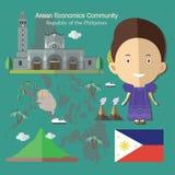 L'AEC Philippines de la Communauté de sciences économiques d'ASEAN Photographie stock libre de droits