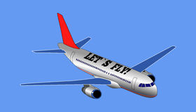 L'aereo bianco e l'iscrizione hanno lasciato la mosca del ` s Fotografia Stock Libera da Diritti