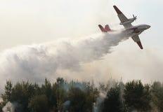 L'aereo cade l'acqua su un incendio forestale Immagine Stock Libera da Diritti