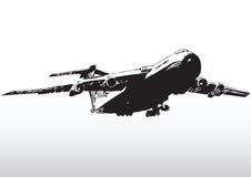 L'aereo decolla la siluetta Fotografia Stock Libera da Diritti