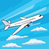 L'aereo decolla lo stile di Pop art Galleggiando nel vettore dell'aeroplano delle nuvole Fotografia Stock