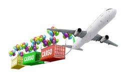 L'aereo di concetto della consegna tira il contenitore Fotografie Stock Libere da Diritti