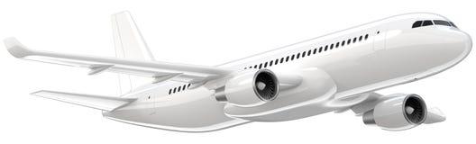 L'aereo di linea bianco su dettagliato, 3d rende su un fondo bianco L'aeroplano decolla, illustrazione isolata 3d airline illustrazione vettoriale