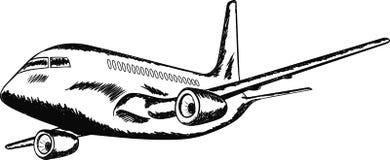 L'aereo di volo su priorità bassa bianca Fotografia Stock