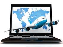 L'aereo ed il computer portatile illustrazione di stock