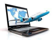 L'aereo ed il computer portatile Immagine Stock