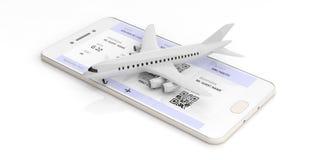L'aeroplano in bianco e l'imbarco passano sopra uno schermo dello smartphone, isolato su fondo bianco illustrazione 3D Immagini Stock Libere da Diritti