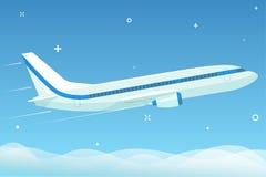 L'aeroplano bianco vola nel cielo notturno con le stelle sotto le nuvole Vettore piano Immagini Stock