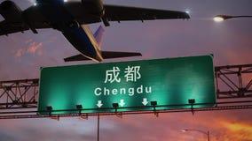 L'aeroplano decolla Chengdu durante l'alba meravigliosa illustrazione vettoriale
