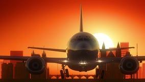 L'aeroplano della repubblica Ceca di Praga decolla il fondo dorato dell'orizzonte Fotografia Stock