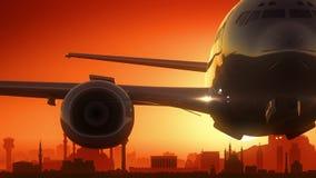 L'aeroplano di Ankara Turchia decolla il fondo dorato dell'orizzonte Fotografia Stock