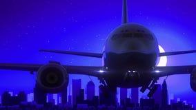 L'aeroplano di Boston Massachusetts U.S.A. America decolla il viaggio blu dell'orizzonte di notte della luna illustrazione di stock