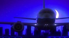 L'aeroplano di Columbus Ohio U.S.A. America decolla il viaggio blu dell'orizzonte di notte della luna royalty illustrazione gratis