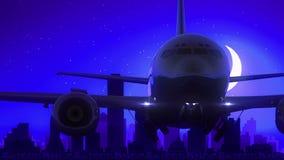 L'aeroplano di Dallas Texas U.S.A. America decolla il viaggio blu dell'orizzonte di notte della luna video d archivio