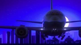 L'aeroplano di Doha Qatar decolla il viaggio blu dell'orizzonte di notte della luna stock footage