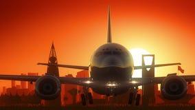 L'aeroplano di Riyad decolla il fondo dorato dell'orizzonte Fotografie Stock Libere da Diritti