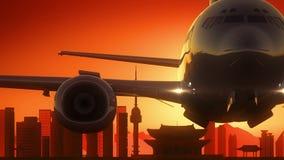 L'aeroplano di Seoul Corea del Sud decolla il fondo dorato dell'orizzonte Fotografia Stock