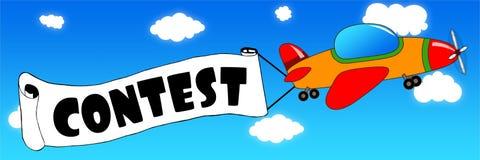 L'aeroplano e l'insegna del fumetto con il CONCORSO mandano un sms a su un fondo del cielo blu Immagine Stock
