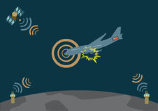 L'aeroplano esplode e cade ed invia il segnale di pericolo Immagine Stock Libera da Diritti