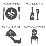 L'affare di HoReCa ha stilizzato l'insieme del logotype di simboli Immagini Stock