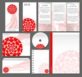 L'affare di identità corporativa ha messo nello stile rosso e romantico Progettazione del modello della cancelleria Fotografia Stock Libera da Diritti