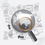 L'affare di mondo scarabocchia idea di piano di strategia di successo del disegno a tratteggio Immagine Stock Libera da Diritti