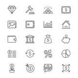 L'affare e l'investimento assottigliano le icone Immagini Stock
