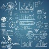 L'affare, gli elementi di finanza e le icone, scarabocchiano lo schizzo disegnato a mano Immagini Stock Libere da Diritti