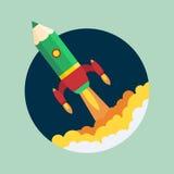 L'affare inizia sul concetto del lancio Roccia d'avanguardia piana Fotografie Stock Libere da Diritti