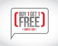 l'affare uno ottiene un concetto libero del messaggio di vendita royalty illustrazione gratis