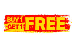 L'affare uno ottiene uno etichetta libera, gialla e rosso disegnata illustrazione di stock