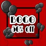 L'affare uno si toglie ad un BOGO 50 per cento dal modello del manifesto con i palloni neri e la struttura quadrata su fondo ross illustrazione di stock