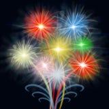 L'affichage de feux d'artifice montre la pyrotechnie et la célébration explosive illustration stock