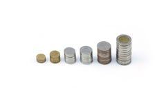 L'affichage thaïlandais de pièce de monnaie (baht) par valeur aiment augmenter le graphique Photo libre de droits