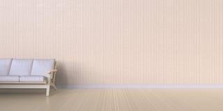 L'affichage vivant de studio minimal nettoient et sofa sur la texture en bois de mur - salon moderne Images stock